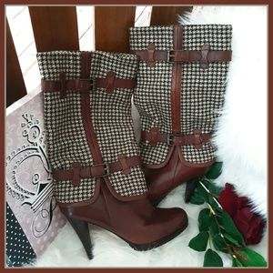 Cole Haan Houndstooth Brown Leather Boots